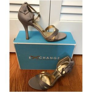 Charles David Silver Grey Satin Ankle-Strap Heels
